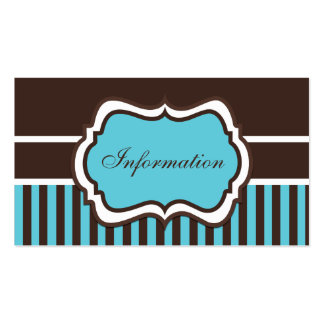 Aqua, Brown, and White Damask Enclosure Card Business Card