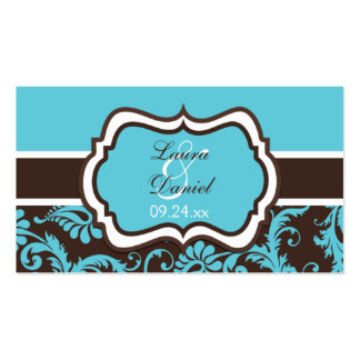 Aqua, Brown, and White Damask Wedding Favor Tag Business Card Templates