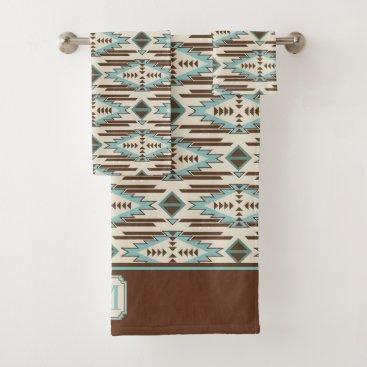 Aqua Aqua Brown Aztec Pattern Monogram Bath Towel Set