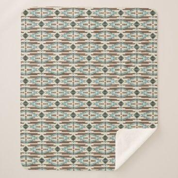 Aztec Themed Aqua Brown Aztec Pattern Sherpa Blanket