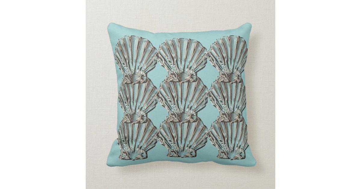 Aqua Brown Decorative Pillows : Aqua brown beach cottage shell throw pillow Zazzle