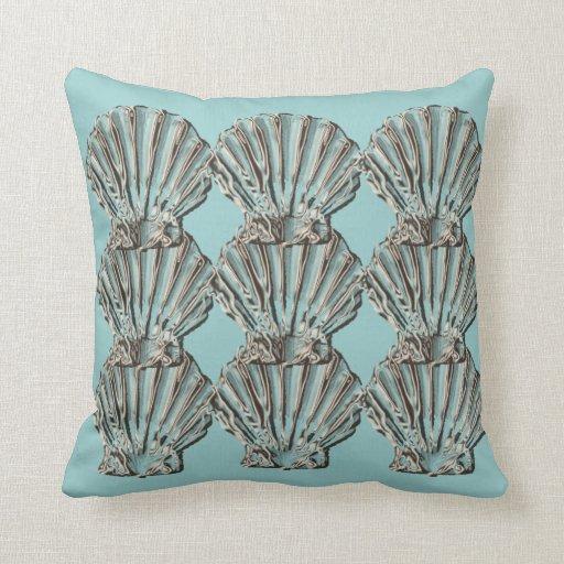 Beach Cottage Throw Pillows : Aqua brown beach cottage shell throw pillow Zazzle