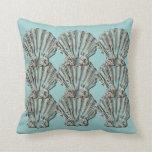 Aqua brown beach cottage shell throw pillows