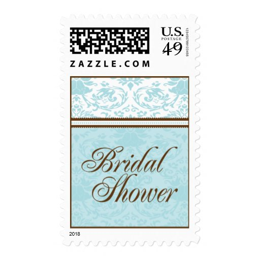 Aqua & Brown Bridal Shower Medium Postage