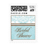 Aqua & Brown Bridal Shower Small Postage