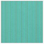 [ Thumbnail: Aqua & Brown Colored Lines/Stripes Pattern Fabric ]