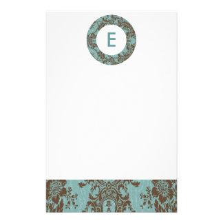 Aqua Brown Damask Customizable Monogram Stationery Paper