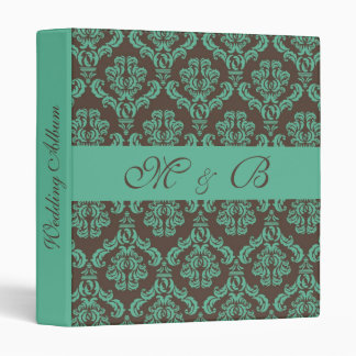 Aqua&Brown Damask Wedding Album/Planner Binder
