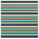 [ Thumbnail: Aqua, Brown, Light Cyan & Black Pattern Fabric ]
