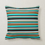 [ Thumbnail: Aqua, Brown, Light Cyan & Black Pattern Pillow ]