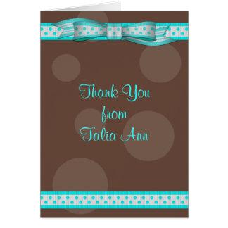 Aqua & Brown Polka Dot Bat Mitzvah Thank You Card
