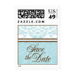 Aqua & Brown Save The Date Small Postage