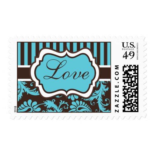 "Aqua, Brown, White Damask  ""Love"" Wedding Postage"
