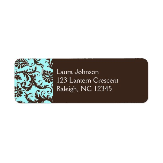 Aqua, Brown, White Damask Return Address Label