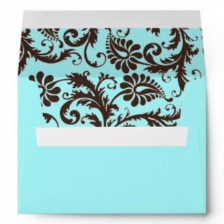 Aqua, Brown, White Floral Damask A7 Envelope envelope