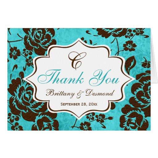 Aqua Brown White Floral Damask Thank You Card