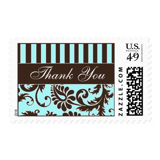 Aqua, Brown, White Floral Damask Thank You Stamp