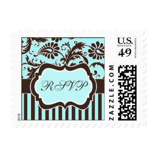 Aqua Brown White Floral Damask Wedding RSVP Stamp