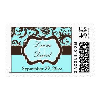 Aqua, Brown, White Floral Damask Wedding Stamp
