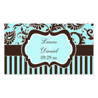 Aqua, Brown, White Stripe Damask Wedding Favor Tag Business Card