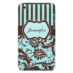 Aqua, Brown, White Striped Damask Ipod Touch Case at Zazzle