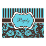 Aqua, Brown, White Striped Damask Reply Card Personalized Announcement