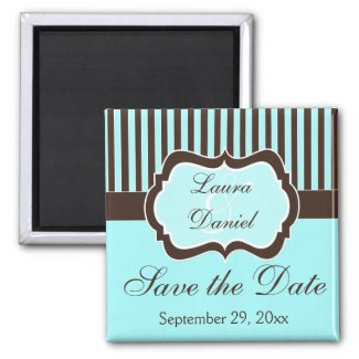 Aqua, Brown, White Striped Save the Date Magnet magnet