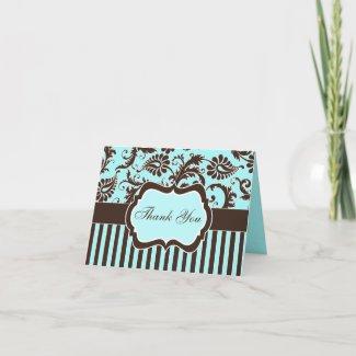 Aqua, Brown, White Striped Thank You Note Card card