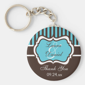 Aqua, Brown, White Striped Wedding Favor Keychain
