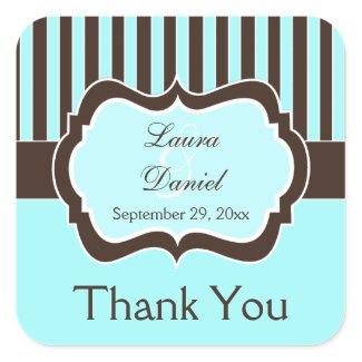 Aqua, Brown, White Striped Wedding Favor Sticker sticker