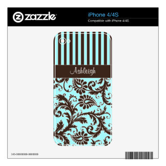 Aqua, Brown, White Stripes Damask iPhone 4/4s Skin Decal For The iPhone 4S