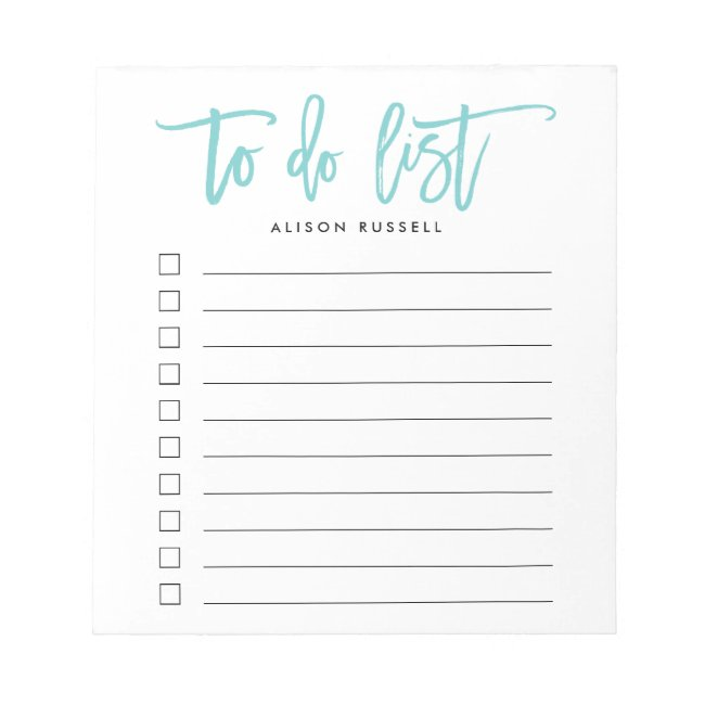Aqua | Brush Lettered Personalized To Do List Notepad