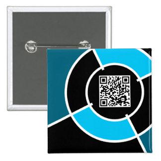 aqua bullseye QR code 2 Inch Square Button
