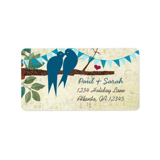 Aqua Bunting Vintage Love Birds Damask Hills Address Label