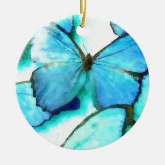 Aqua Butterflies Double-Sided Ceramic Round Christmas Ornament