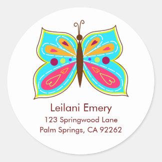 Aqua Butterfly Address Labels Classic Round Sticker