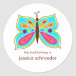 Aqua Butterfly Book Plates Classic Round Sticker