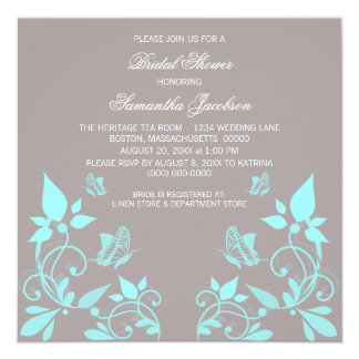 Aqua Butterfly Floral Bridal Shower Invite