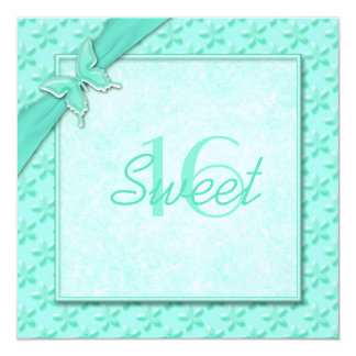 "Aqua Butterfly Sweet Sixteen Invitation 5.25"" Square Invitation Card"