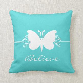 Aqua Butterfly Swirls Pillow