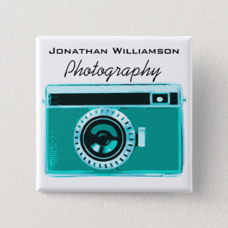 Aqua Camera Photography Business Pinback Button