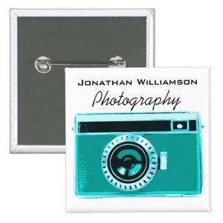 Aqua Camera Photography Business Pinback Button