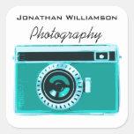 Aqua Camera Photography Business Square Sticker