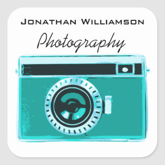 Aqua Camera Photography Business Square Sticker