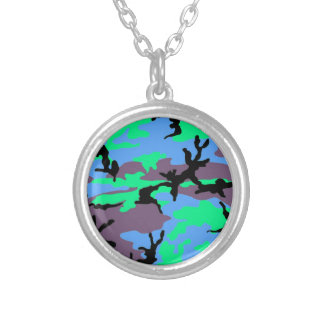 Aqua Camouflage Silver Plated Necklace