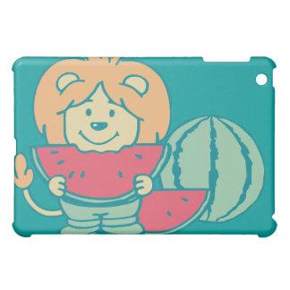 Aqua Cartoon Lion Eats Watermelon  Cover For The iPad Mini