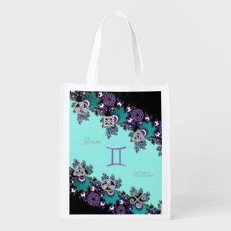 Aqua Celtic Gemini Reusable Grocery Bag