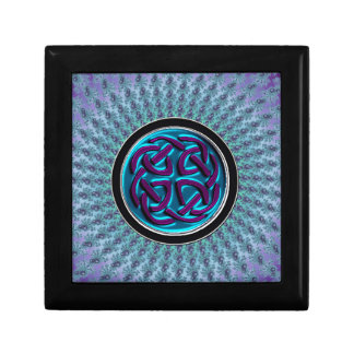Aqua Celtic Knot Fractal Mandala Treasure Box