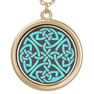 Aqua Celtic Knot With Black Gold Pendant Necklace