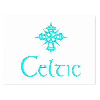 Aqua Celtic with Cross Postcard